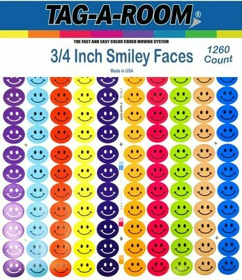 Tag-A-Room Happy Face Smiley Face Round 3/4 Inch Circle Dot Stickers, 10 Bright Colors, 8 1/2