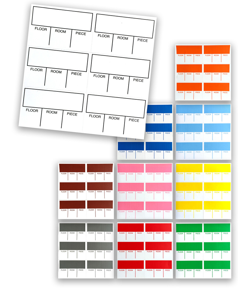 Tag-A-Room Color Coded Furniture Labels, Moving Supplies Stickers 120 Count 010028