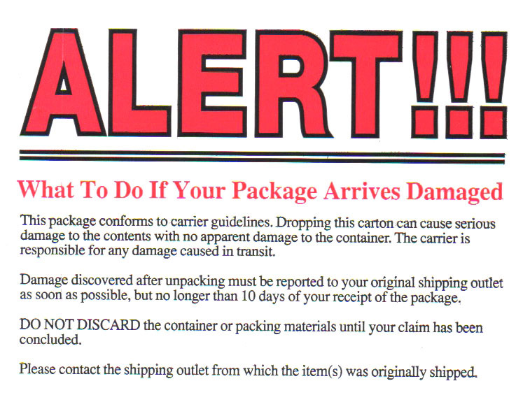 ALERT!!! - Damaged Package Shipping Label 1301014