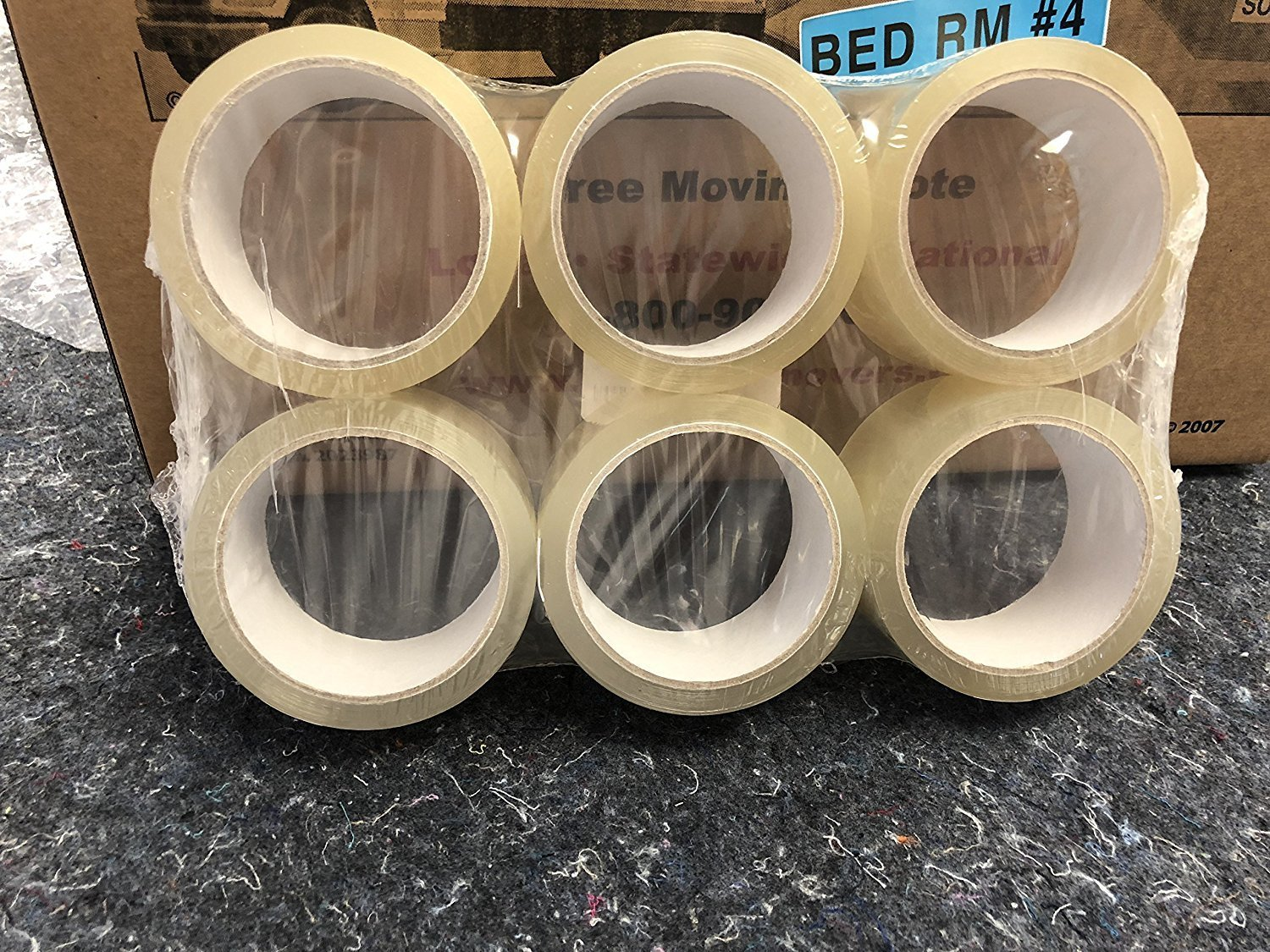 Packing Tape, Clear Heavy Duty Refills, 6 Rolls, 2 Inch x 55 Yards