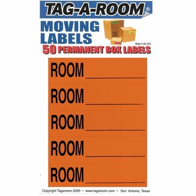 Color Coded Home Moving Packing Box Labels (Room Blank Orange)