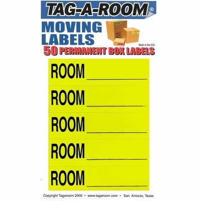 Color Coded Home Moving Box Labels (Room Blank Yellow)