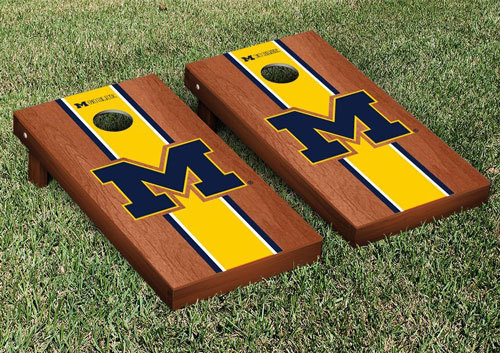 Michigan Cornhole Game Set - Rosewood Stripe