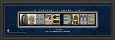 Notre Dame Campus Letter Art Personalized Print