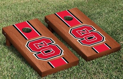 NC State Cornhole Game Set - Rosewood Stained Stripe
