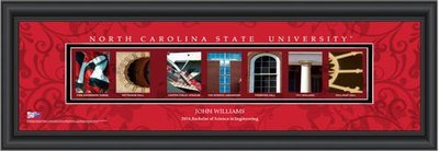 NC State Campus Letter Art Personalized Print