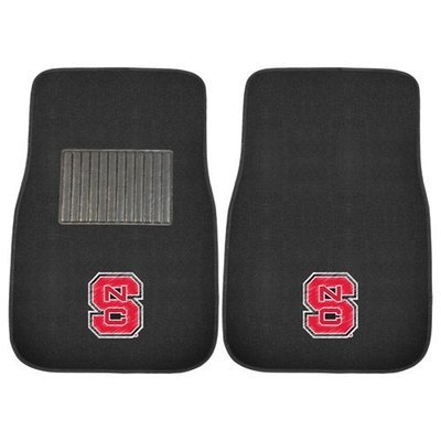 NC State 2-Pc Embroidered Carpet Auto Mat Set