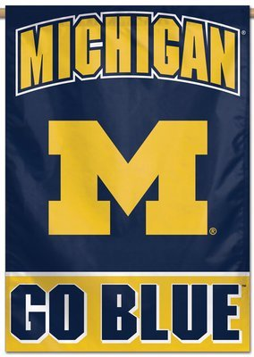 Michigan M Go Blue Vertical Banner