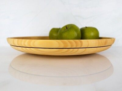 Shallow Wood Bowl, SARAH, Wooden Dish Hand Turned from Gingko from the Historic Bell House