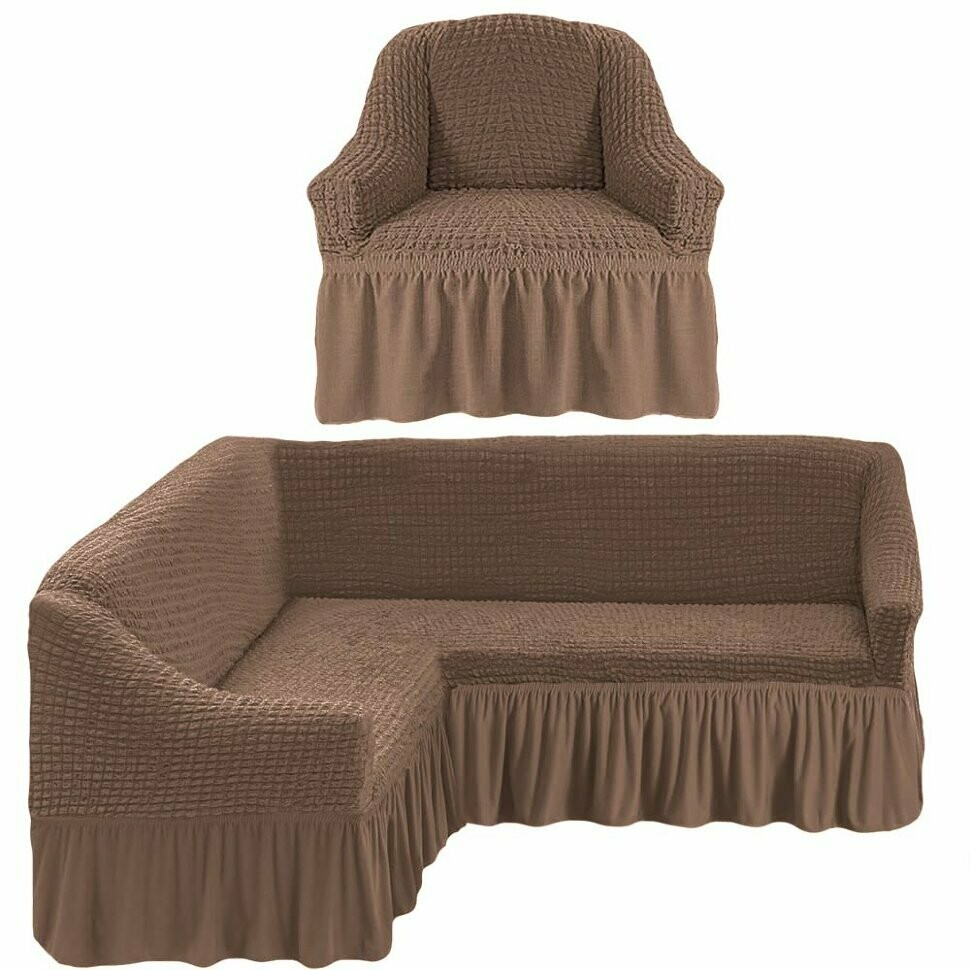 Чехол на угловой диван и 1 кресло с оборкой