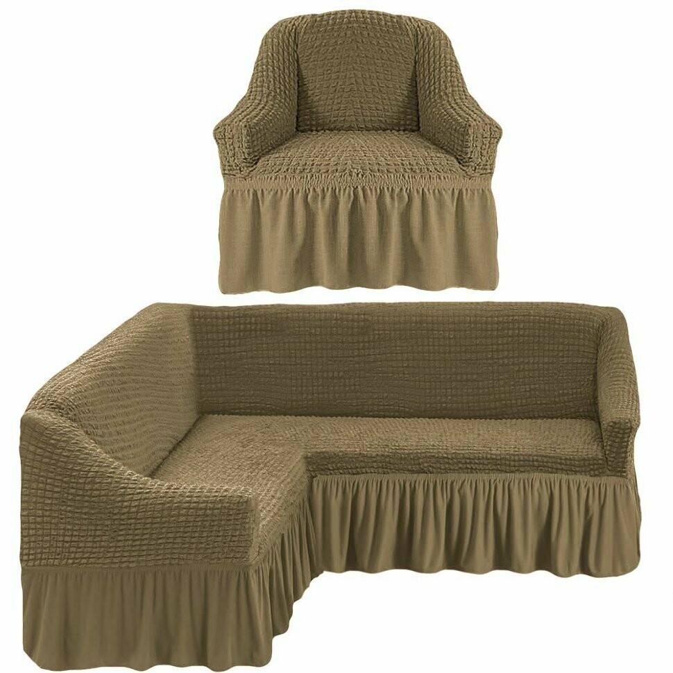 Чехлы на угловой диван и 1 кресло с оборкой
