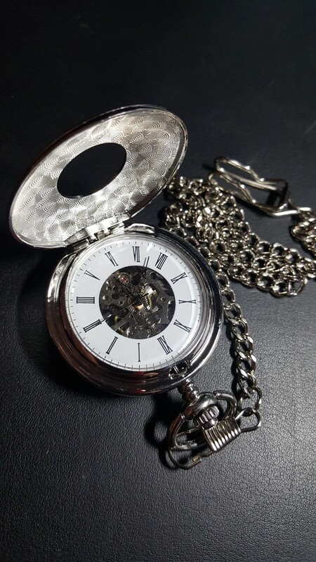 Silver Tone Hunters Case Stem Wind/Set Pocket Watch
