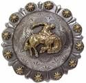 2-3/8 Inch Diameter Silver & Gold Bronco Concho