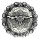 2-3/8 Inch Diameter Silver Longhorn Concho