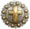 1-1/4 Inch Diameter Gold Cross Berry Concho