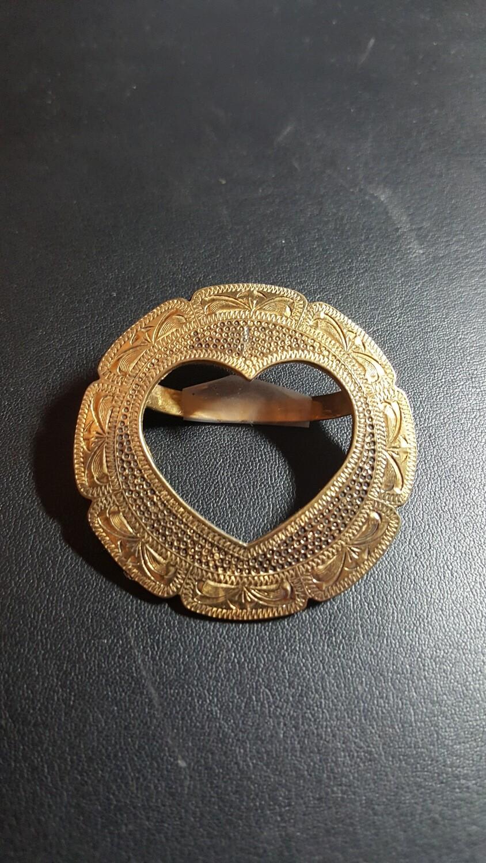 Engraved Bronze Heart Scarf Slide