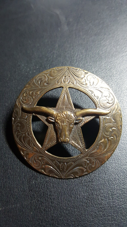 Engraved Bronze Long Horn Star Scarf Slide