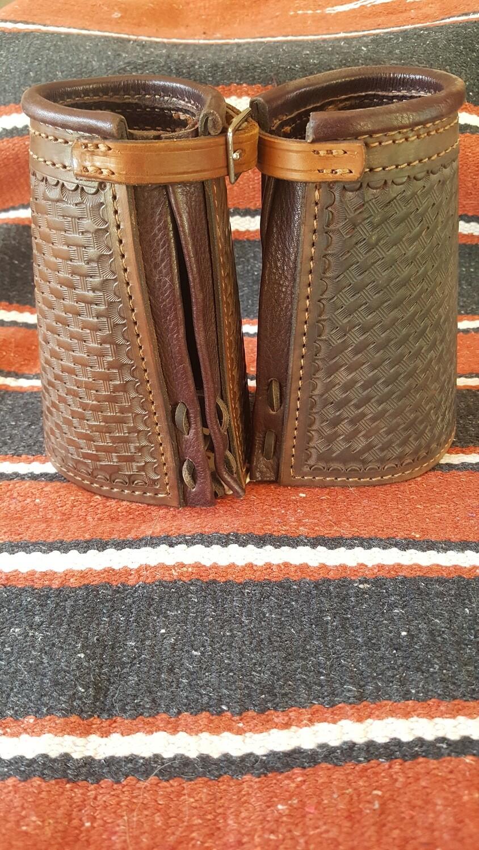 Men's Basket Weave Stamped Leather Wrist Cuffs