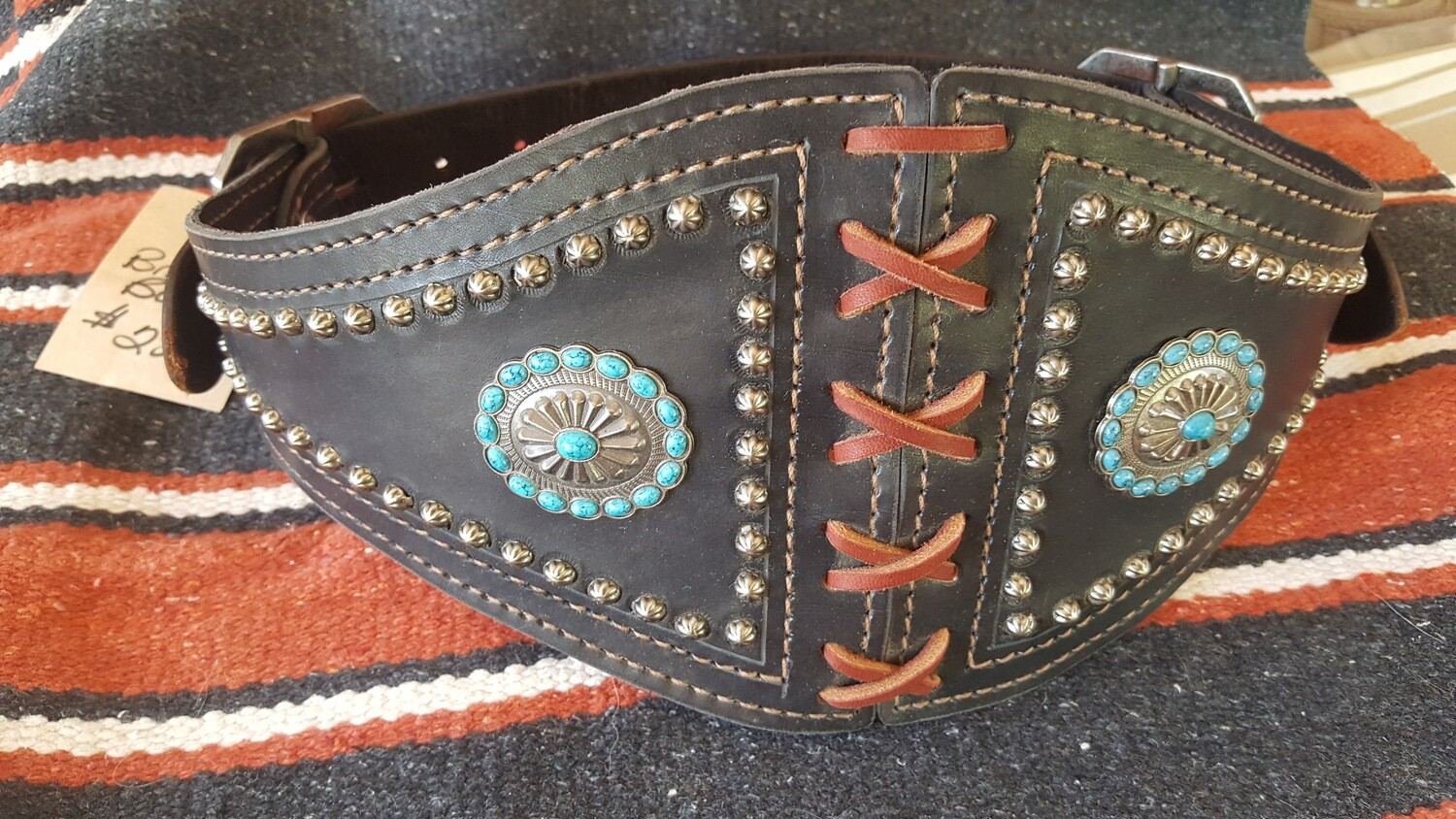 Ladies' Black Leather Bronco Belt with Conchos and Spots
