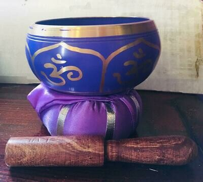 Brass Singing Bowl with stick & Cushion 10 cm Crown Chakra
