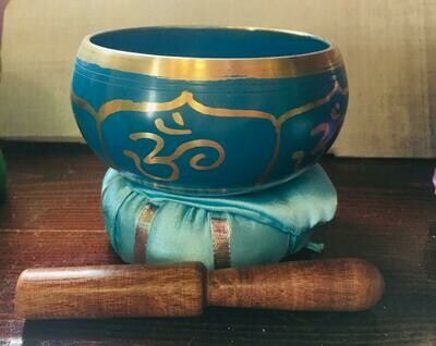 Brass Singing Bowl with stick & Cushion 10 cm Green Chakra