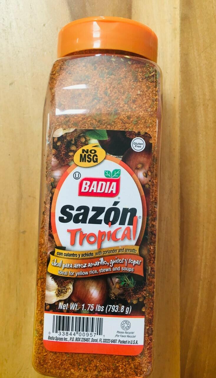 Badia sazon tropical seasoning with coriander & annato 1.75 lbs (No MSG)