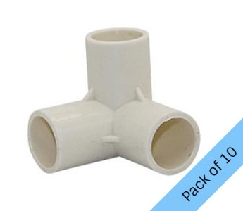 PVC Connector - 3 Way Elbow - 20mm. Pack of 10