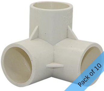PVC Connector - 3 Way Elbow - 32mm. Pack of 10