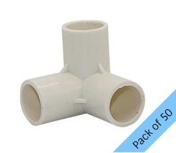 PVC Connector - 3 Way Elbow - 20mm. Pack of 50