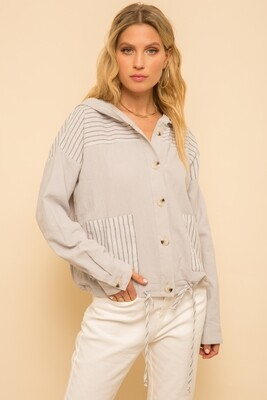 201 Jacket Grey Button Down Striped 8104