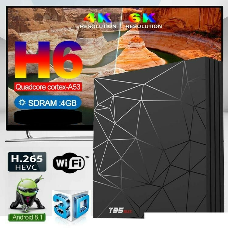 TV Box Allwinner H6 T95 Max (4 GB RAM & 32 GB ROM) 6K 4K HD (Android 9.0)
