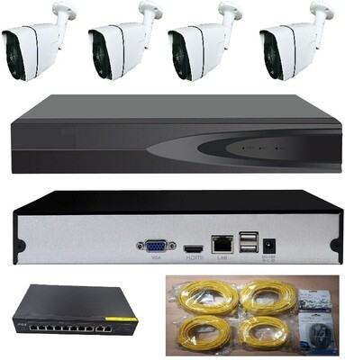 POE Security Camera System 4 MP (Higher than HD) 3 TB Hard Drive & 4 Cameras (Supports up to 8 cameras)