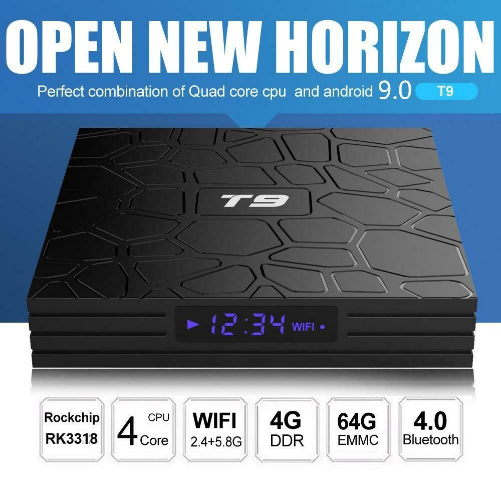 TV Box T9 (4 GB RAM & 64 GB ROM) Quad Core RK3318 4K HD (Android 9.0)