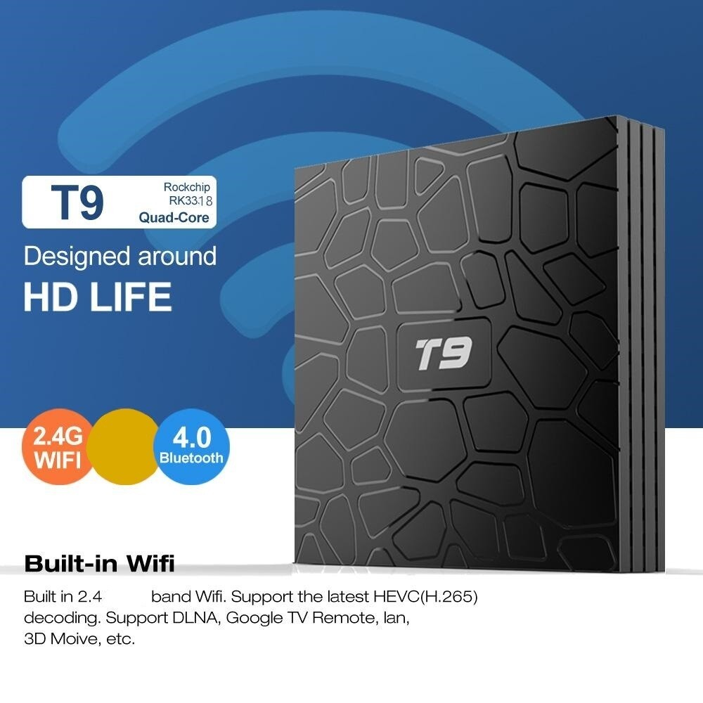 TV Box T9 (4 GB RAM & 32 GB ROM) Quad Core RK3318 4K HD (Android 9.0)