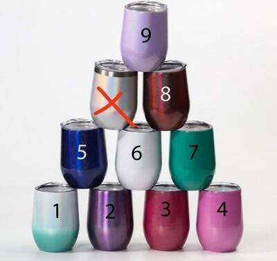 12oz Wine Tumblers Rainbow Glitter Tumblers - Blank