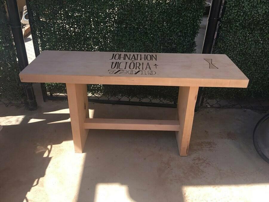 Wooden Wedding Guest Book Bench