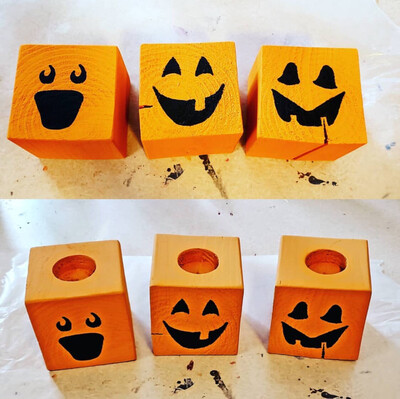 Wood Jack O'lanterns Tea Light Candle Holder
