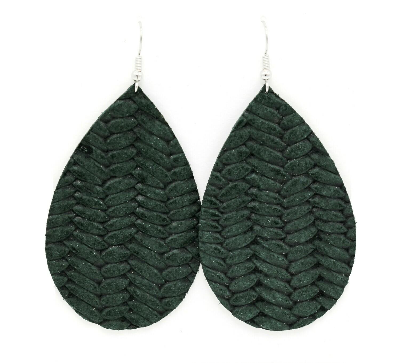 FOREST GREEN KNIT TEARDROP EARRINGS