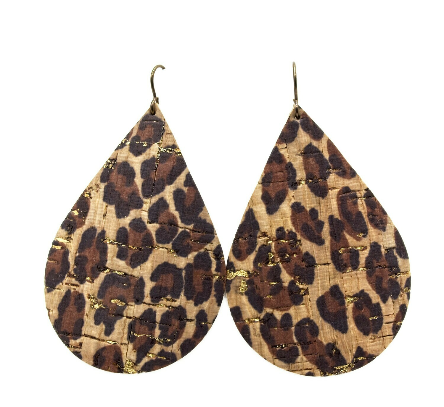 LEOPARD WITH GOLD ACCENT CORK/LEATHER EARRINGS