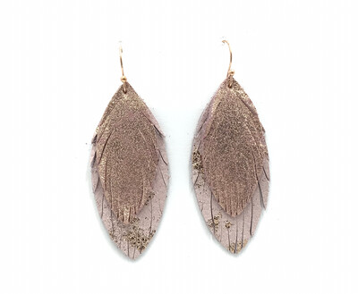ROSE GOLD SPLASH ON PINK FEATHER EARRINGS