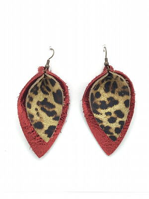 METALLIC LEOPARD AND RED PINCHED LEAF EARRINGS
