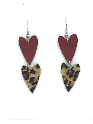 RED AND LEOPARD HEART EARRINGS