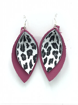 WHITE LEOPARD AND PINK PINCHED LEAF EARRINGS