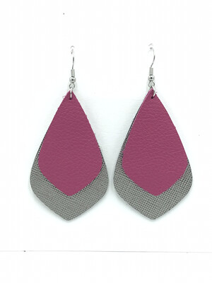 PINK AND SILVER POINTED TEARDROP EARRINGS