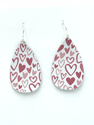 PINK HEARTS ON WHITE RAINDROP EARRINGS