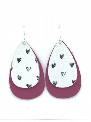 HEARTS ON WHITE AND PINK RAINDROP EARRINGS