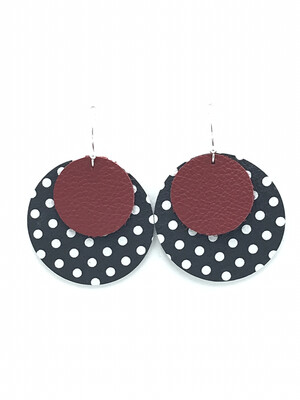 RED ON BLACK AND WHITE POLKA DOT CIRCLE EARRINGS