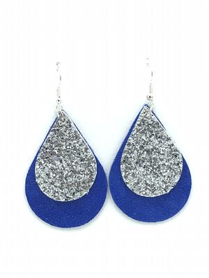 BLUE/GLITTER SILVER TEARDROP EARRINGS