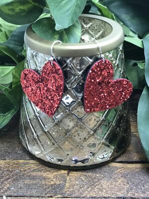 RED GLITTER LEATHER HEART EARRINGS