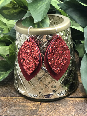 RED GLITTER AND SUEDE LEATHER LEAF EARRINGS